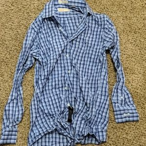 Michael Kors blue checkered l/s button cuff